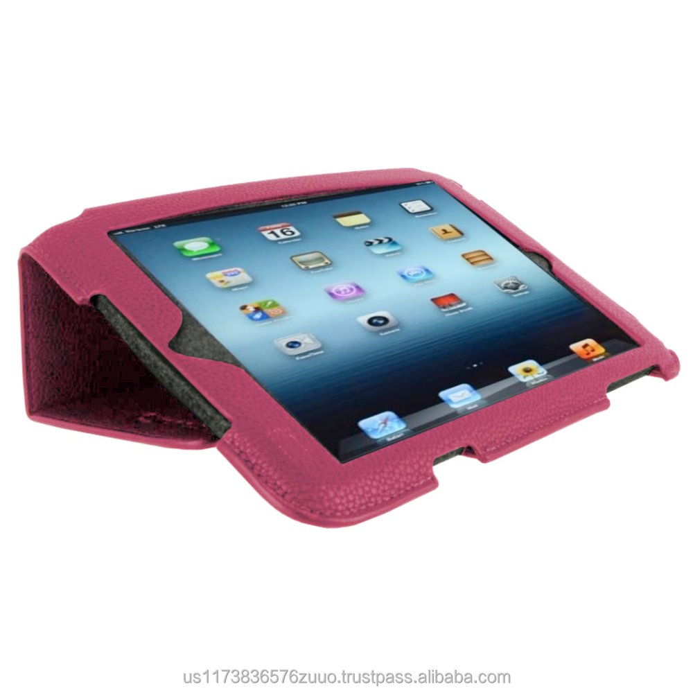 Ultra Slim Premium PU leather exterior, microfiber interior Lightweight Folio Stand Cover for iPad Mini (Magenta)
