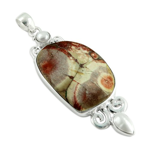 Gifted Charm 925 Sterling Silver Bezel Setting Jasper_Pearl Gemstone Pendant, Wholesale Jewelry,925 Fashion Silver Jewelry