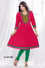Ladies wear Rayon kurits / 2016 new embroidery neck pattern long anarkali kurtis & kurtas