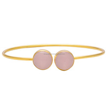 Elegant 24k Gold Plated Faceted Rose Quartz Adjustable Bangle Bracelet for Women Jewelry, Wholesale Fashion Jewelry FK-08