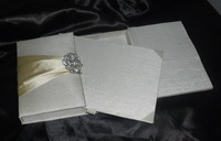 manufacturer of handmade silk designer marriage card folio in box with sweets slot silk folio invitations