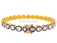 Handmade Silver Jewelry 14k Gold Indian Rose Cut Diamond Jewelry Bangle