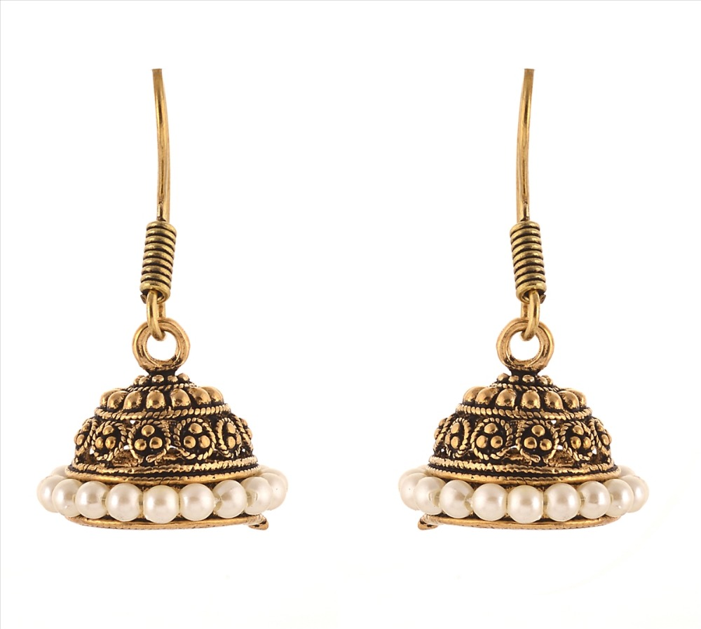 Zephyrr Fashion Light Weight Jhumki Gold Tone Earrings with Pearls for Women