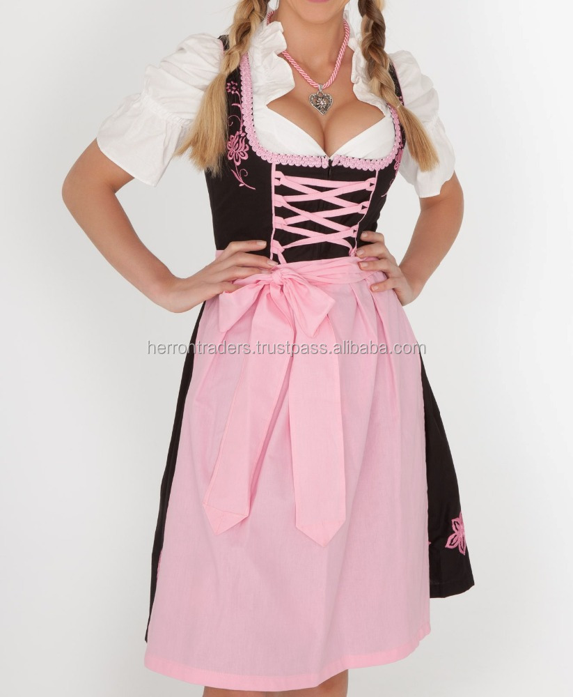 Latest design of German Austrian Dirndl Dress for women/ German Dirndl In black body with Pink cotton apron