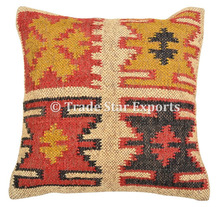 Ethnic Hand Wooven Pillow Cover Kilim Vintage Jute Home Decorative Cushion Cover