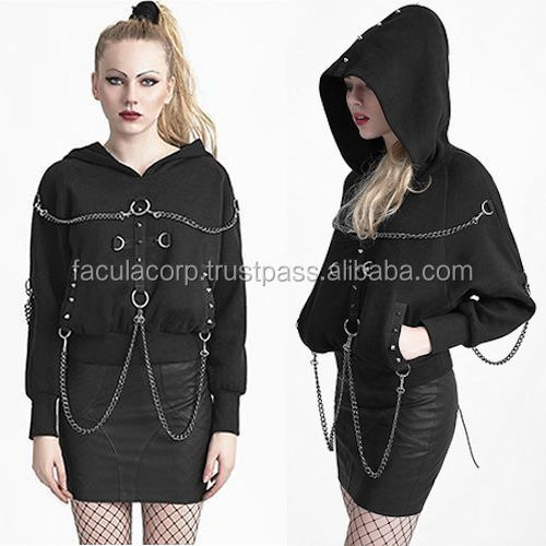 Gothic Coat Men Women Black Studded Emo Rock Fashion Hoodies FC-2269