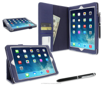 Dual-Station Slim Folding Premium PU Leather Folio Case, Smart Cover Auto Sleep/Wake; for iPad Air 1 roocase (Navy)