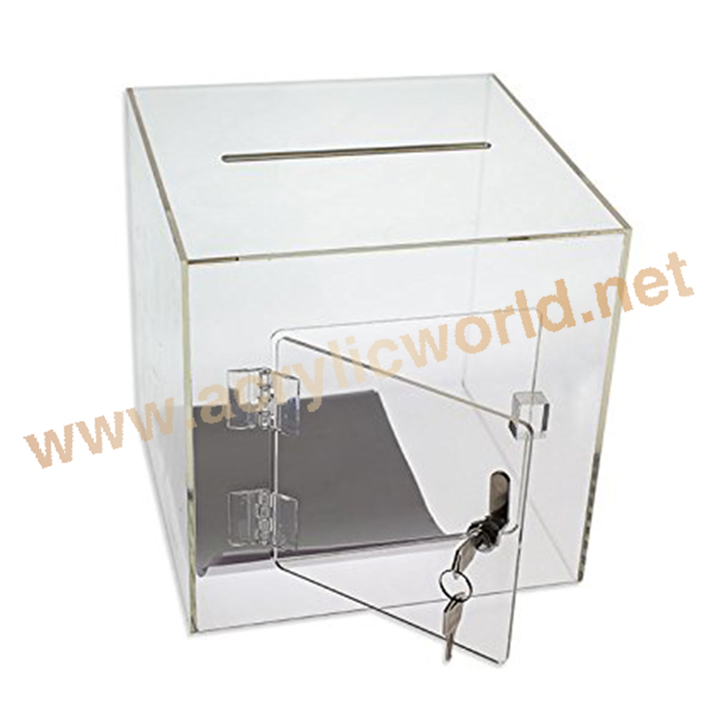 Acrylic Donation Box With Lock And Chain