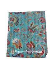 Handmade Kantha Quilt Tropical Flower Indian Vintage Bedspread Coverlet Throw Blanket Gudari Queen Kantha Quilt in 100% Cotton