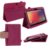 Dual-Station Slim Fit Folding Premium PU Leather Folio Case, auto sleep/wake for Nexus 10 roocase (Magenta)