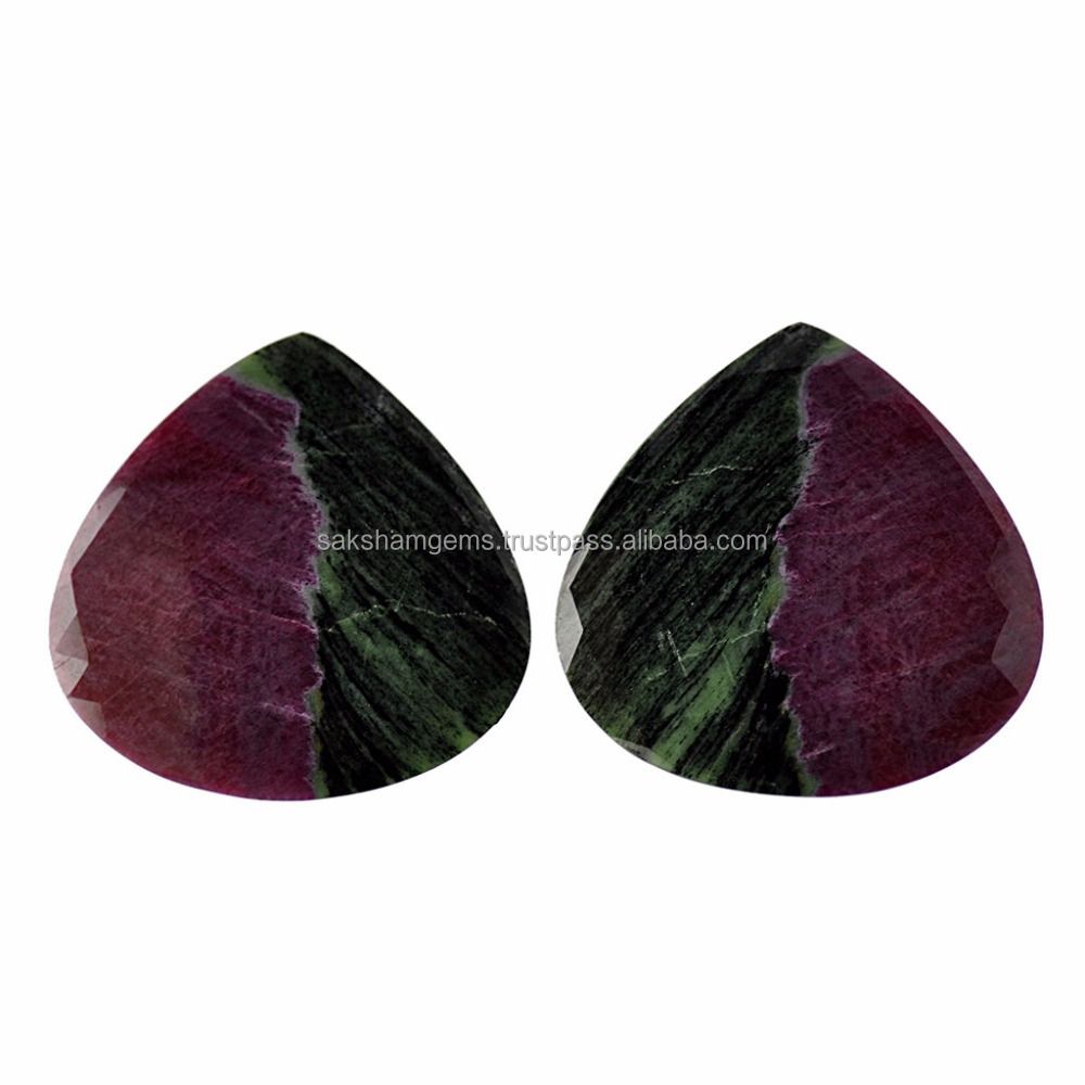 251.00ct 100%Natural Zeolite Gemstone Heart Shape Rose Cut Pair For Jewelry 55mm