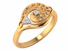 New Beautiful 14k Yellow Solid Gold Certified Natural Diamond Stylish Cutwork Prong Engagement ring for women's