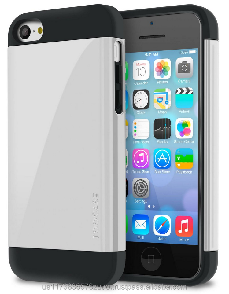 Dual Layer Armor Case, Slim Fit, Advanced Shock Absorption Technology for iPhone 5c roocase whole sale (White)