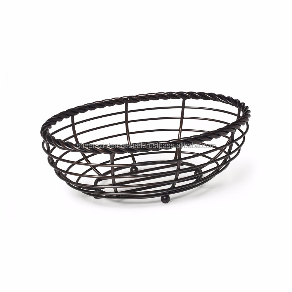 Vintage Metal Rope Oval Bread Storage Basket.