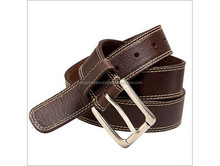 Most Trendy Leather Belt,Double Stitching Sides Dark Brown Color Belt For Men