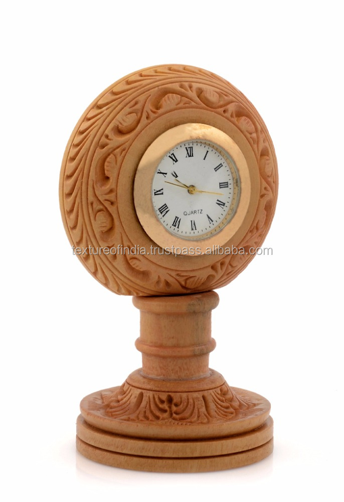 Most Use Full Handmade Wooden Table Clock For Corporate Gift