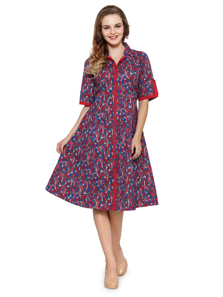 Ladies Multicolour Printed A Line A Line Side Pocket Dress - Shirt Collar, 3/4th Sleeve - 100% Cotton - Manufacturer Exporter