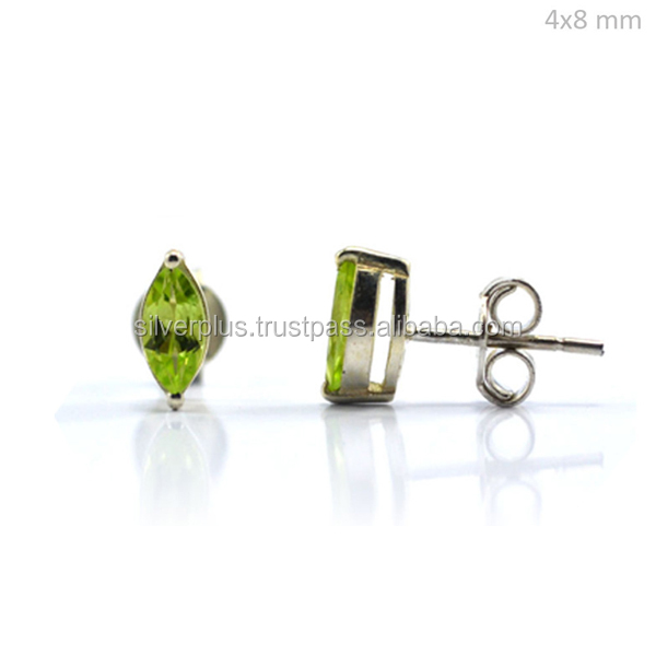 925 Sterling Silver Natural Peridot 8x4 mm Marquise Stud Earrings