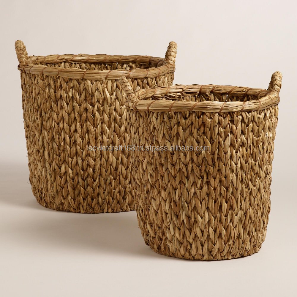 High quality best selling eco-friendly Set of natural sweeter weave water hyancinth basket from Vietnam