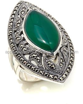 Indian 925 sterling silver green onyx beautiful gemstone ring