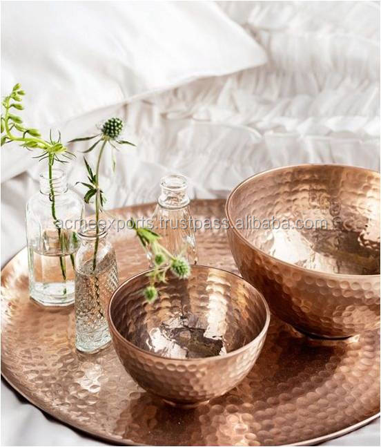 Pure Copper Set of 2 Bowls With Decorative Hammered Tray