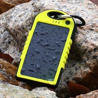 Green SoFetch Solar Charger 5000mAh Power Bank Dual USB for iPhone 6S Samsung S6