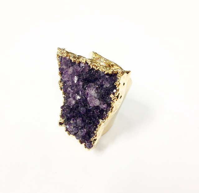 DRUZY CUFF STONE RING FROM BRAZIL