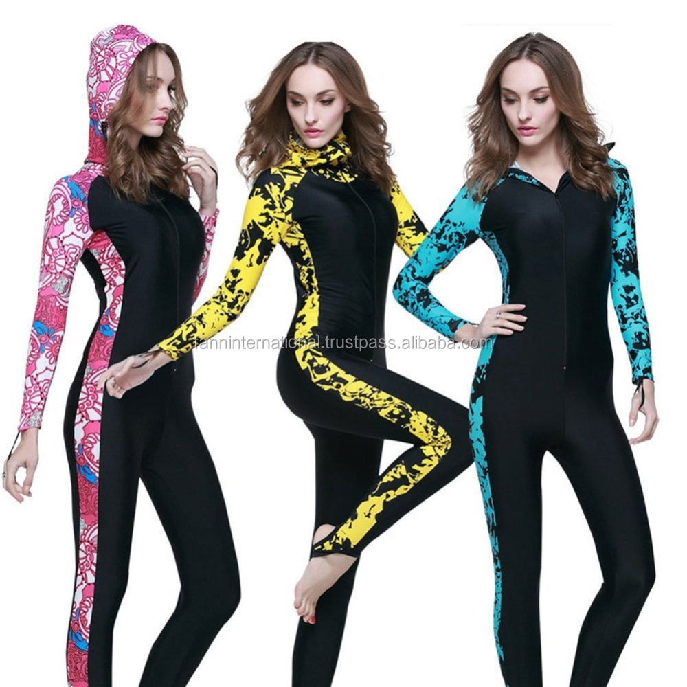 New design women printed full length islamic swimming suit muslim swimwear