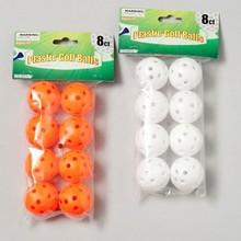 PRACTICE PLASTIC GOLF BALLS W/ HOLES 8PC WHITE OR NEON ORANGE #G21011