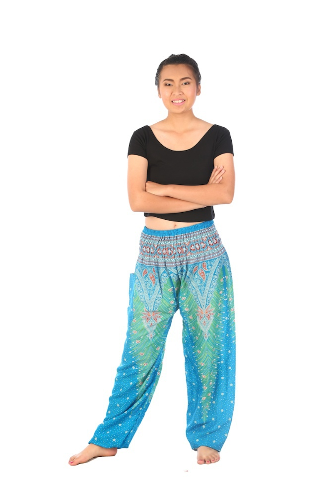 Women light blue Peacock Yoga pants loose fit Smocked Waist Comfy Bohemian Thai Pants summer pants