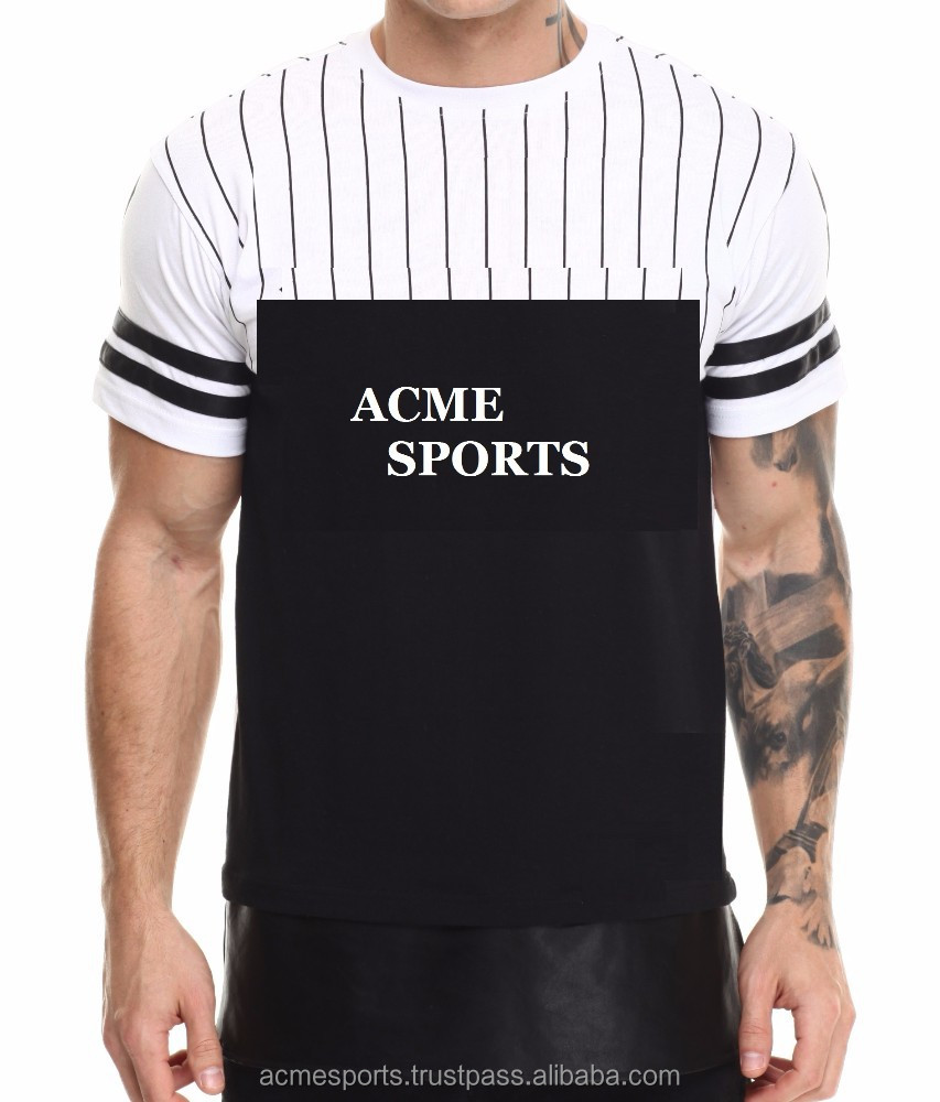 panelled fashion t shirt with custom brand name