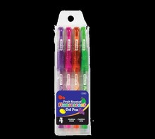 BAZIC 4 Scented Fluorescent Color Gel Pen w/ Cushion Grip
