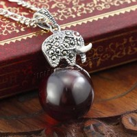 Thailand Sterling Silver Pendants with Red Agate Elephant pave cubic zirconia 14x25.50mm Hole:Approx 3x5mm Sold By PC