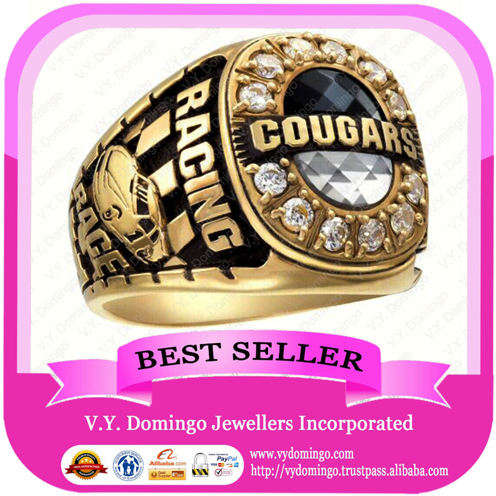24kt Electroplated Wholesale College Ring Highly Polish Class Ring