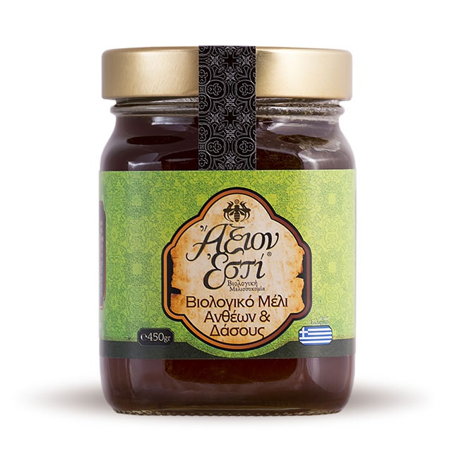Organic Greek Flowers (blossom) Honey, 450gr glass jar