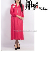 Pink Awesome Embroidered Long kurti