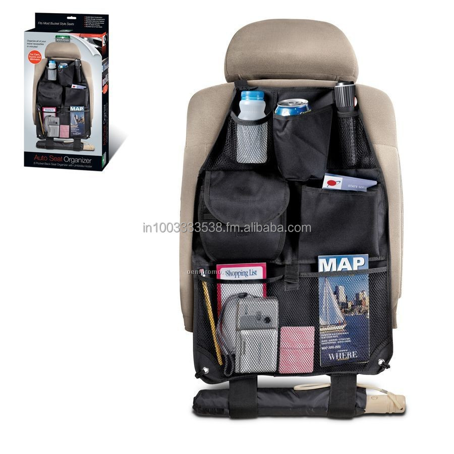 Car Seat Organizer For Auto Seat Back With 6 Pockets Organizes Clutter