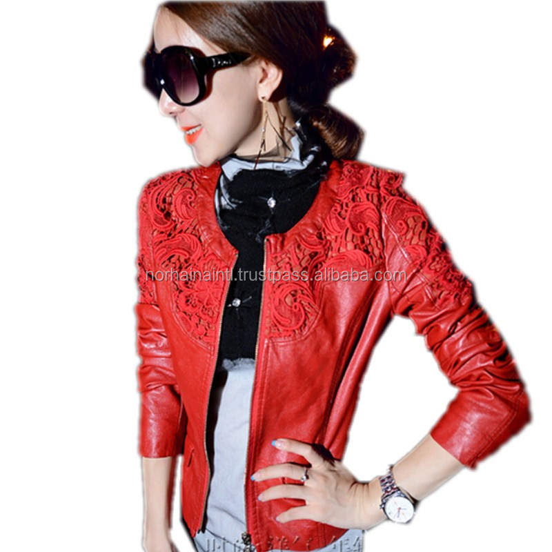 2016 Latest Fashion Women Leather Jacket Autumn Winter Women blank coat Cheap Lady Motorcycle