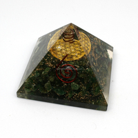 Wholesale Reiki Products : Orgone Green Jade Chakra Pyramid With Metal Flower Of Life Symbol With Crystal Point : Orgonite