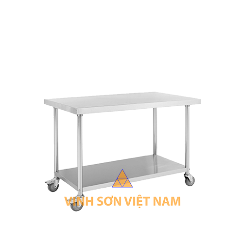 Stainless steel mobile work table with 1 tiers