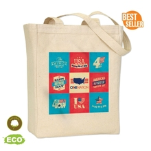 "Full Color Print Big Gusset Tote Bag - made from 100% cotton canvas, measures 14""H x 10.5""W x 5""D and comes with your logo."