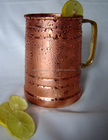 WORLD BEST SOLID 100% COPPER MOSCOW MULE COCKTAIL MUG WITH BRASS HANDLE