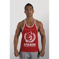 two toned cherry red & white 100% cotton jersey 180 gsm NO PAIN NO GAIN fitness legends gym singlet stringer vest tank top