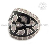 Delicate Handmade Making 925 Sterling Silver Jewelry Enamel Ring Wholesale Silver Jewellery Ring Indian Silver Jewelry