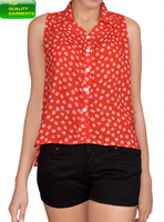 Women Girl Ladies Blouse Top Red Sleeveless Buttoned Casual Wear Latest Cotton Blend Office Cheap Loose OEM Customize #8126216