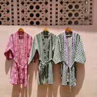 Hand block printed Multi color Cotton bathrobes