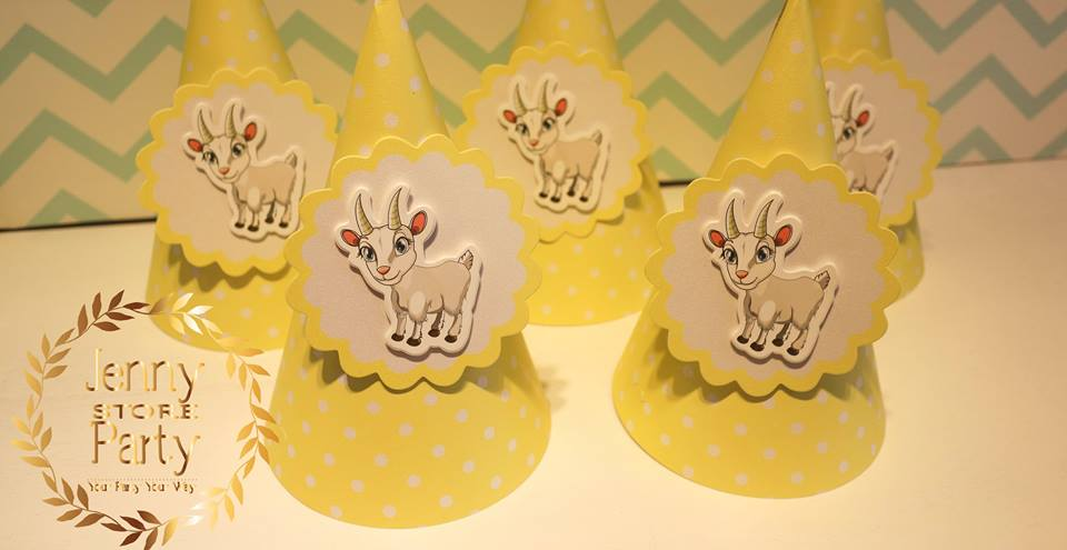 Cute Goat Theme 3D layers Party hat Items/ Party Supplies/ Birthday Accessories Pastel Yellow