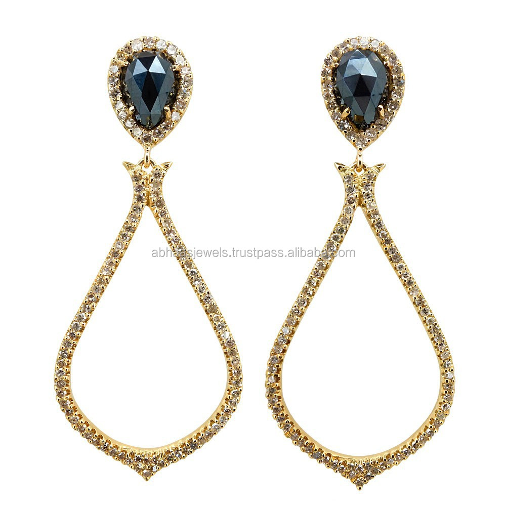 14K Yellow Gold Pave Diamond Drop Earrings Black Spinel Gemstone Wholesaler Jewelry