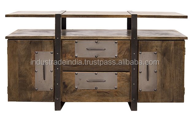 Industrial Wooden and Metal Two Door and Two Drawer TV Console