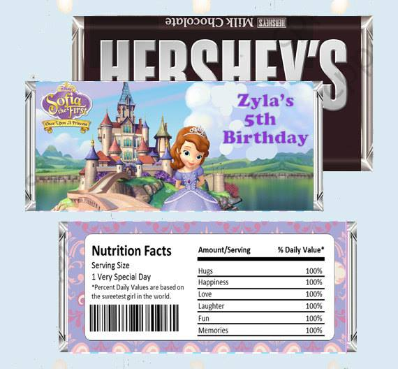 Candy Bar Wrappers-Hershey Bar Wrapper -Sofia The First